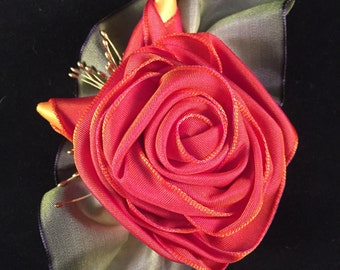 Coral Ribbon Rose Corsage Pin or Hair Accessory