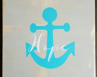 Anchor of Hope 12×12 wood sign
