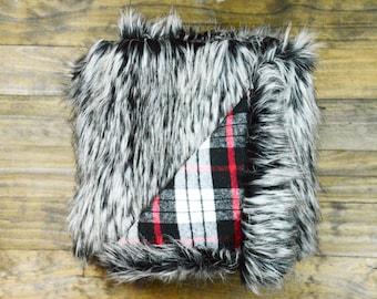 Custom Lumberjack Faux Rabbit Fur Red Plaid Throw By