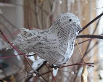 Wordy Bird, paper bird sculpture