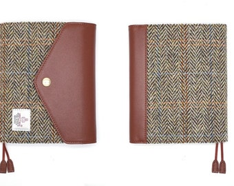 Handmade leather&Harris Tweed Notebook cover A6