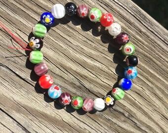 Multi-Color Flower Bead Elastic Stretch Bracelet