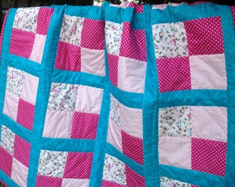 Baby girls fully quilted throw sweet print of little birds/pink gingham/turquoise border and dots.
