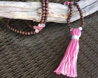 Girls Boho Beaded Tassel Necklace