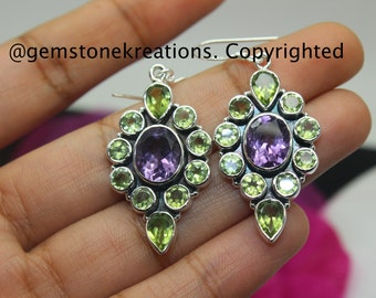 Peridot, Amethyst Earrings , 925 Sterling Silver Ring, Gemstone Earrings, Crystal Earrings