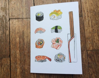 Sushi and Chopsticks Greetings Card - Original Watercolour Print