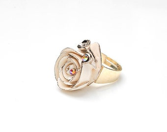 Porcelain Small Silver Rose Ring/ Rose/ Ring/ Porcelain Ring/ Silver Rose/ Flower Ring/ Fower