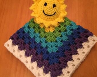 Rainbow lovey blanket, Rainbow security blanket, baby shower gift, Rainbow baby