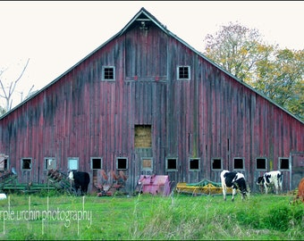 """Barn Photography, Red Barn, Country Picture, Farm Artwork, Old Buildings, Farmhouse Decor, Rustic Wall Art, """"Red-Faced Barn"""""""