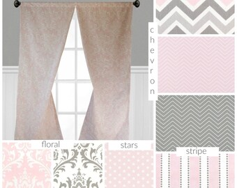 Baby Pink and Gray Curtains Nursery Childrens Curtain Panels Light Pink Grey Stars Chevron Stripe Floral Window Treatments Custom Drapes