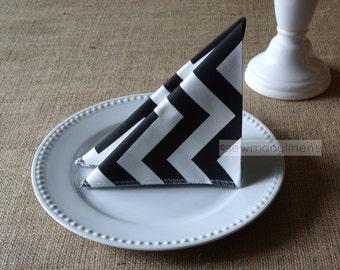 Black and White Napkins Chevron Stripe Table Linens Place Setting Kitchen Dining Room Decor Cloth Fabric Napkin Set