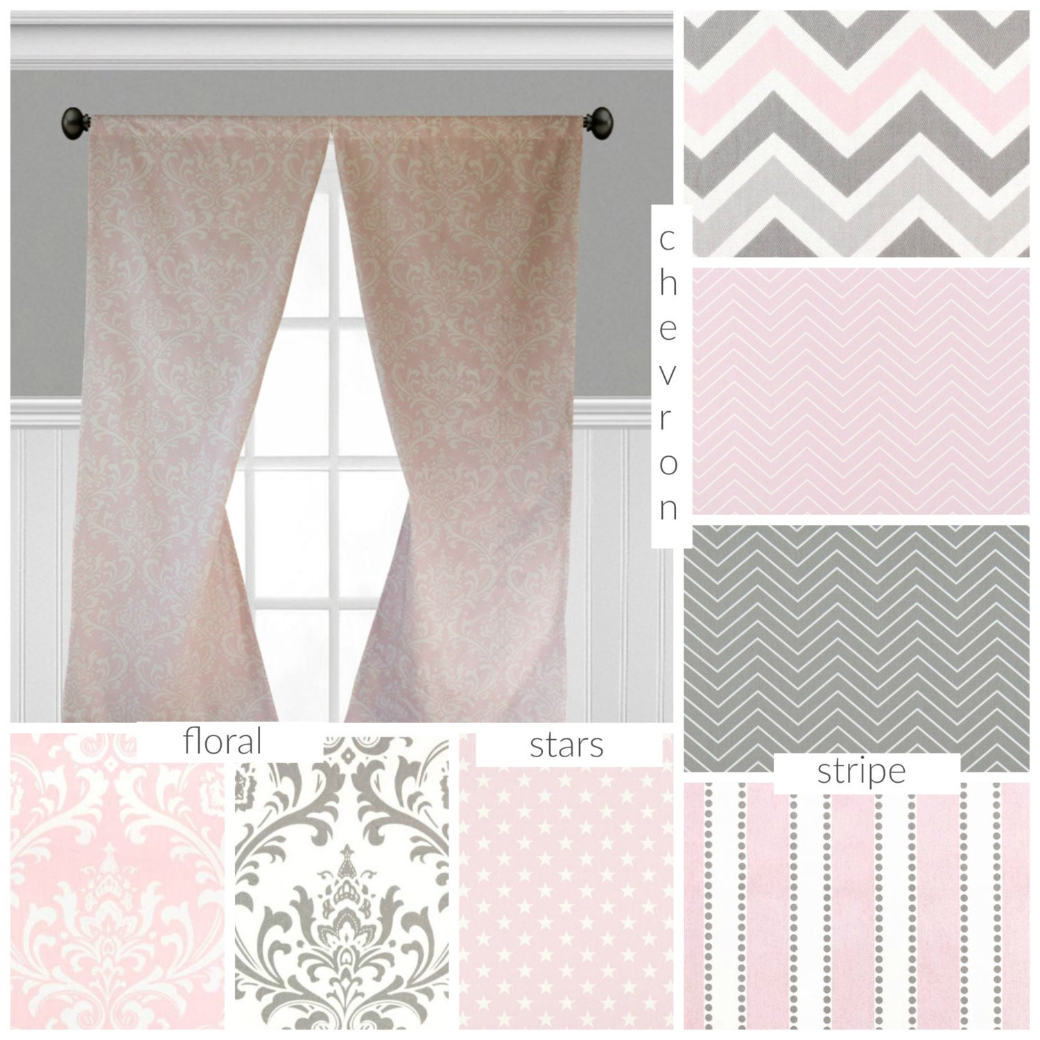 Baby Pink And Gray Curtains Nursery Childrens Curtain Panels