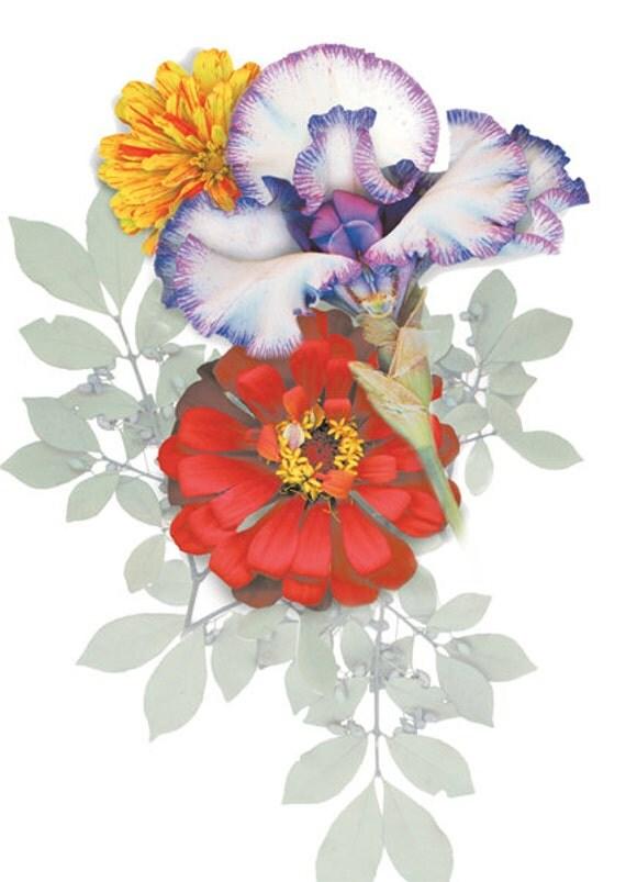 Garden flowers & botanicals transferred to canvas. First apartment, new home art. Dining room, sun room art. Iris/Zinnia, hand picked flora.