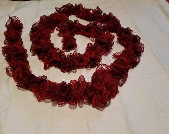 long ruby ruffle scarf