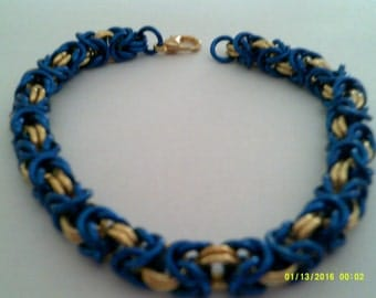 blue and gold chainmaille bracelet