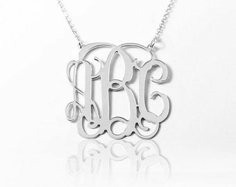 "On Sale 40% - Large Monogram necklace, Personalized Gift, 1.5"" Monogram necklace, Monogramed Initial, Sterling Silver Initial Necklace"