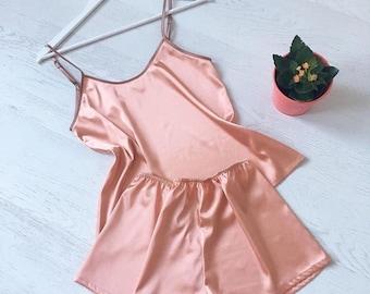 Women's satin pajamas set | Pajama | Orange Pajama | Silk Pajamas Set | Women's pajamas | Pajama Set
