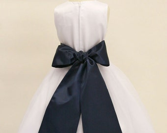 Buy 1 Get 1 Free Designer US Angels- NAVY   Satin Tapered Flower Girl Dress Sash