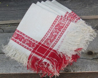 "Set of 5 Antique Damask Linen Napkins, Red and White ""Bandeau Rouge with Flower Design"