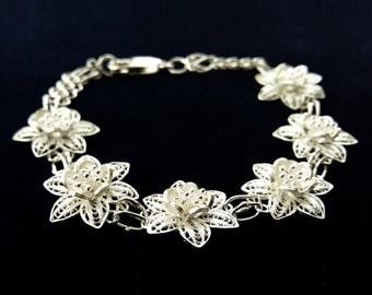 Filigree Bracelet Flores, Sterling Silver Bracelet, Spanish Filigree, Flower Bracelet, Filigree Jewelry, Silver Jewelry, Romantic Bracelet