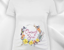 Coming soon flower wreath ladies scoop neck fine jersey maternity tee -new mom gift,expecting mother,maternity t-shirt,maternity top-CCB-230