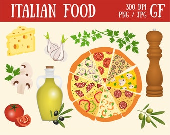Clip Art Italian Food Clipart italian food clipart etsy pizza vegetables olive italy digital clipart