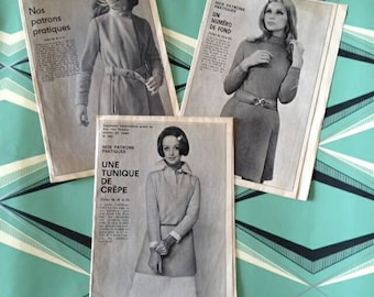 Lot of 3 old 60's sewing patterns