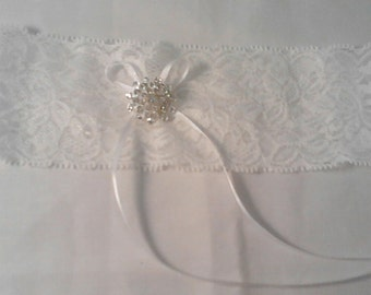 white stretch lace wedding Garter with diamante various colours available