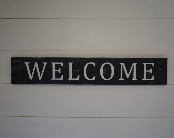 Welcome Wood Sign / Wood Door Sign / Distressed Black and White Sign / Farmhouse Style Sign / Fixer Upper Style