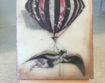 Spread my wings and fly! Encaustic beeswax painting, original painting