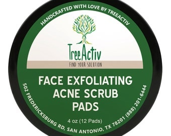 TreeActiv Face Exfoliating Acne Scrub Pads | Safely Extracts and Removes Blackheads | Prevents Future Breakouts | 4 Ounce (12 Pads)
