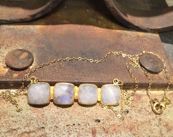Rainbow Moonstone Bar Necklace on Delicate Gold Filled chain