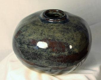 Handmade small blue-green ceramic vase