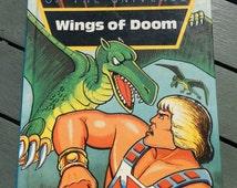 Vintage children's He-Man Ladybird Wings of Doom book, 1984 children cartoon classic, Masters of the Universe, TV cartoon book, gift for boy