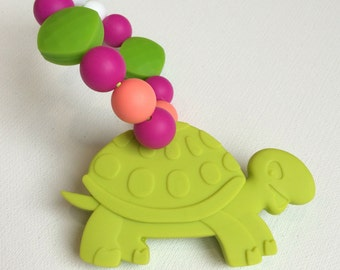 Green Turtle Silicone Carrier Clip Teether