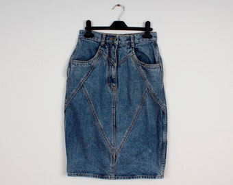 Vintage Skirt Denim Pencil Skirt 80s 90s Style Jeans Skirt High Waist Knee Length Denim Skirt Disco Retro Denim Skirts
