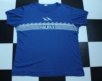 Vintage 80s Halifax Nova Scotia Canada Waves Blue Surf Ringer Tshirt