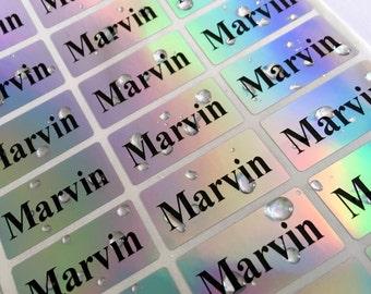 SALE!!! 72 medium Silver hologram -Waterproof Name Stickers- Daycare Labels- School Labels