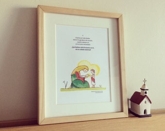 Cuadro ilustrado con oración para niños