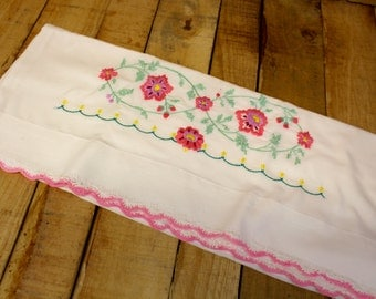 Vintage Floral Embroidered Pillow Case - One