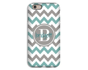 Monogram iPhone 7 case, teal and grey chevron iPhone 7 Plus case, monogram iPhone 6s case, iPhone 6 Plus case/6 case, 3D iPhone cases
