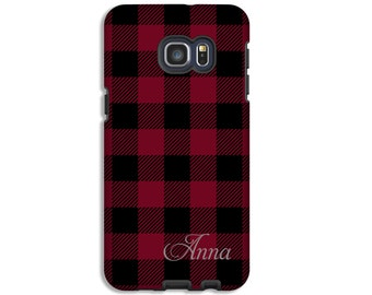 Monogram Galaxy S8 Plus case, red and black buffalo check Galaxy A5 case, Galaxy S7 case, S6 case, 3D Galaxy cases, custom colors