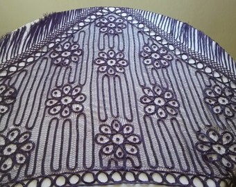 Vintage Hand Beaded Purple Silk Satin Shawl
