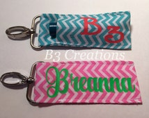 Chap Stick Holder, Personalized Chap Stick Holder, Lip Balm Holder, Chap Stick Key Fob, Stocking Stuffers, Chevron Pattern, Monogrammed