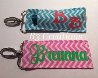 Chap Stick Holder, Personalized Chap Stick Holder, Lip Balm Holder, Chap Stick Key Fob, Chevron Pattern, Monogrammed