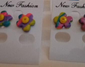 Rainbow Sherbet Polymer Clay Flower Earring Studs