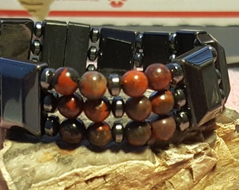 Energy Bracelet accented with Red Jasper Beads