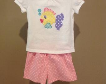 Appliqued Fish T-Shirt and Shorts