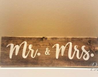 Mr. & Mrs. Wood Sign // Wedding // Anniversary // Handmade // Distressed