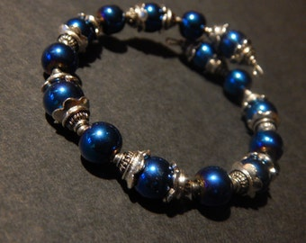Blue Bead Memory Wire Bracelet with Silver Accents
